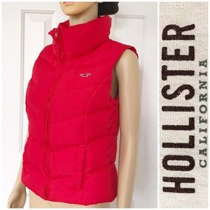 Hollister Red Quilted With Zipper Vest M